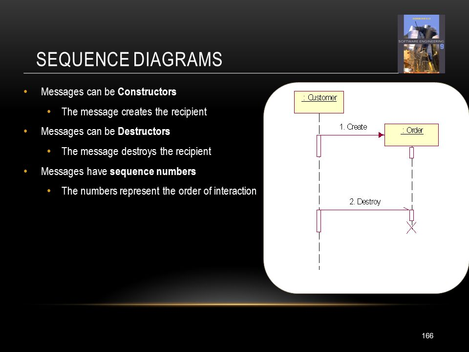 SEQUENCE DIAGRAMS Messages can be Constructors The message creates the recipient Messages can be Destructors The message destroys the recipient Messages have sequence numbers The numbers represent the order of interaction 166