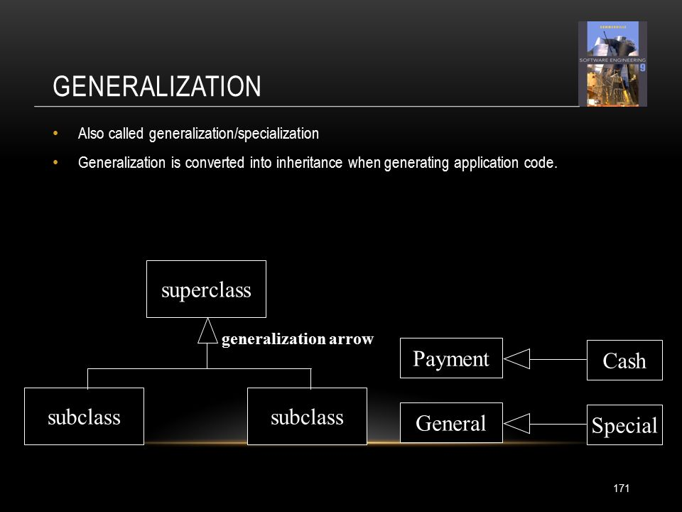 GENERALIZATION Also called generalization/specialization Generalization is converted into inheritance when generating application code.