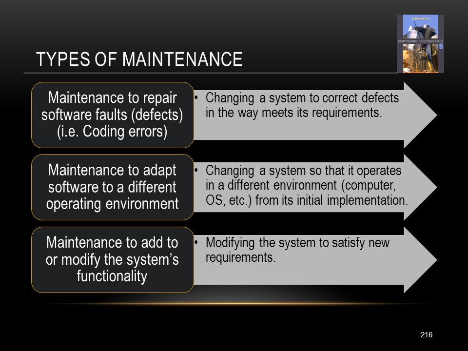 TYPES OF MAINTENANCE 216 Changing a system to correct defects in the way meets its requirements.