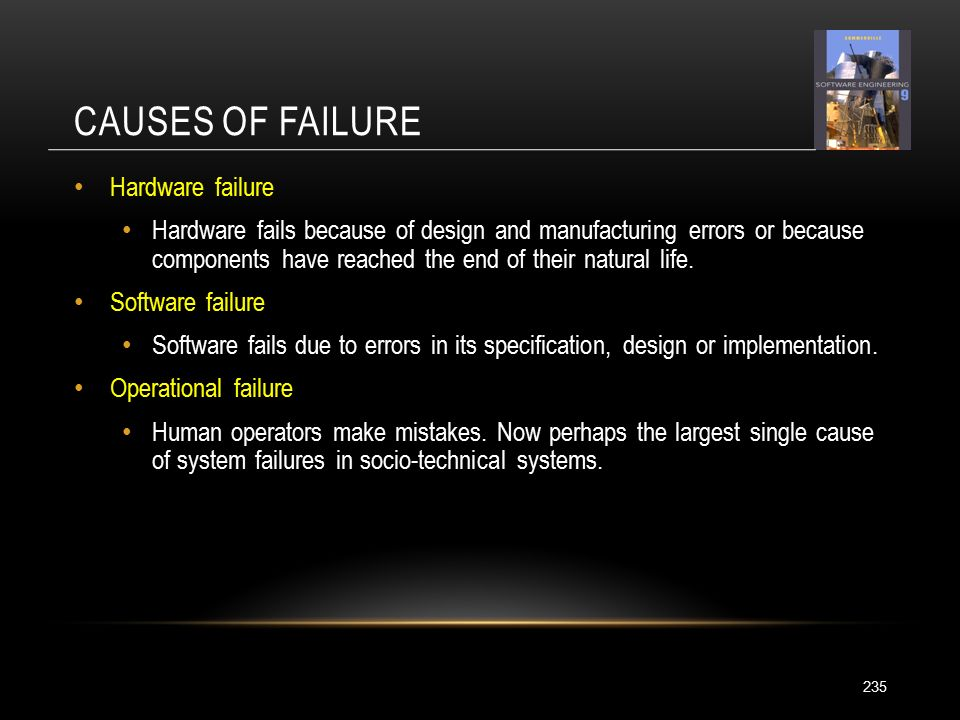 CAUSES OF FAILURE 235 Hardware failure Hardware fails because of design and manufacturing errors or because components have reached the end of their natural life.