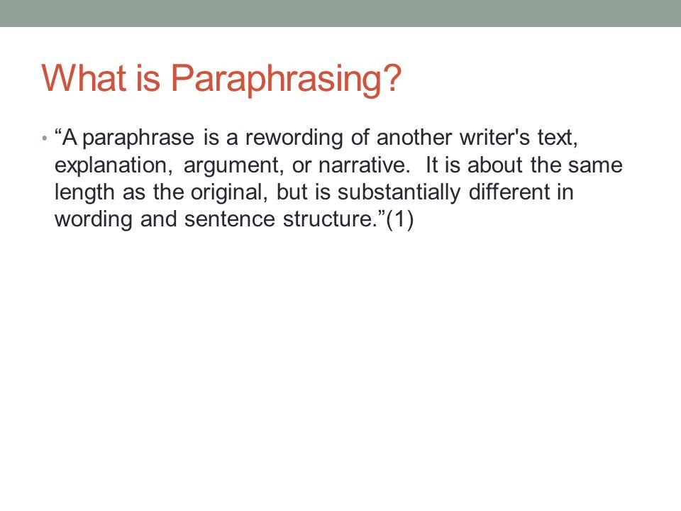 what is a paraphrase