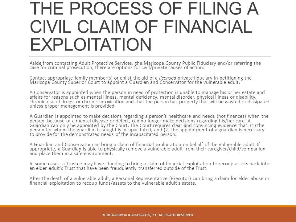 FINANCIAL EXPLOITATION AND CIVIL REMEDIES ASIMOU & ASSOCIATES, PLC