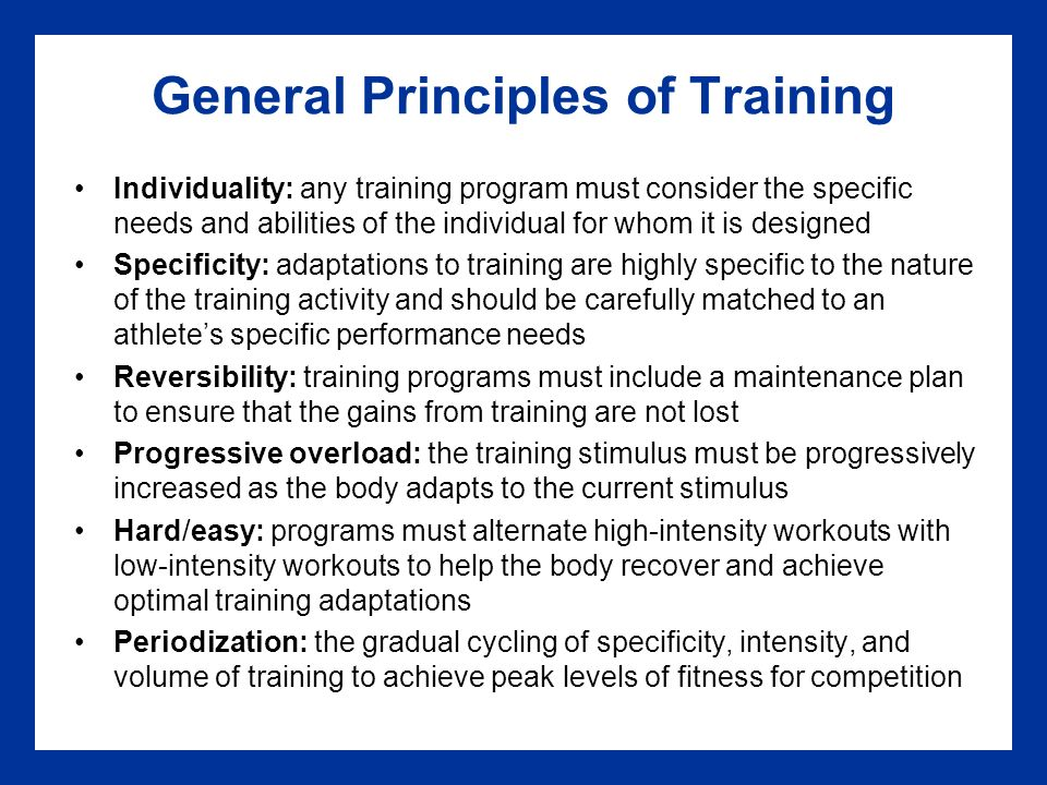 8 Principles Of Exercise Training Chapter Learning Objectives Learn