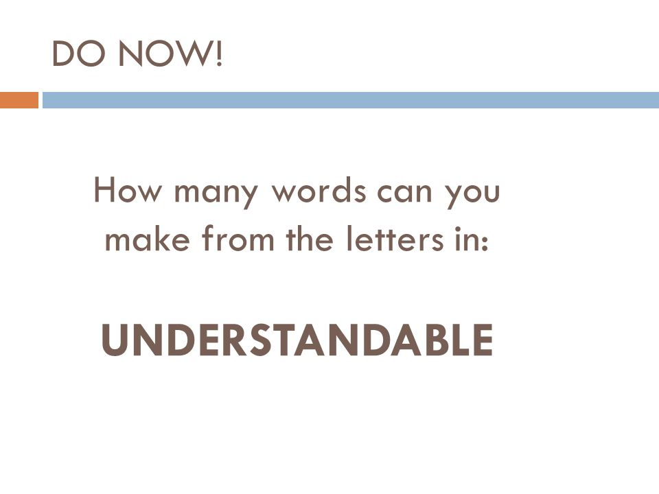 How Many Words Can You Make From The Letters In Understandable Do