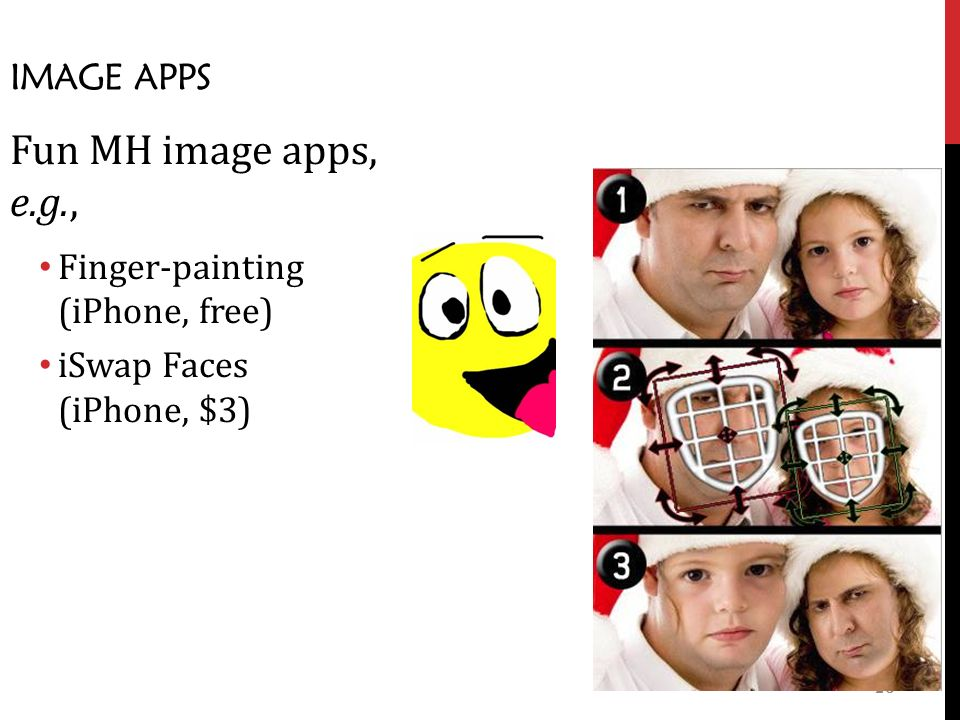 26 IMAGE APPS Fun MH image apps, e.g., Finger-painting (iPhone, free) iSwap Faces (iPhone, $3)