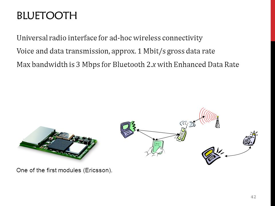 BLUETOOTH Universal radio interface for ad-hoc wireless connectivity Voice and data transmission, approx.
