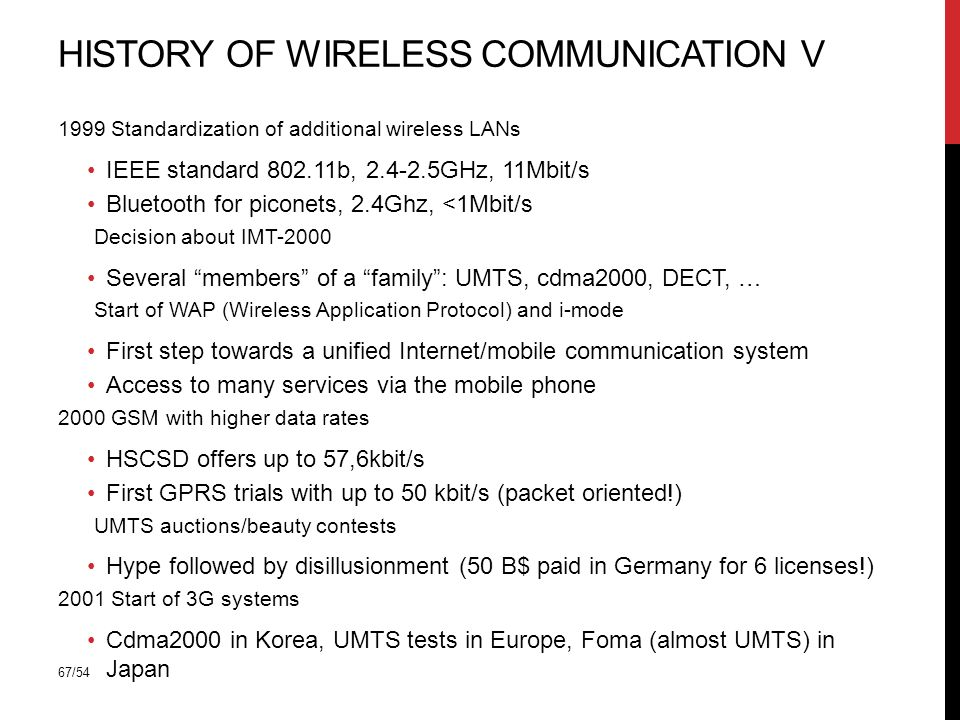 67/54 HISTORY OF WIRELESS COMMUNICATION V 1999 Standardization of additional wireless LANs IEEE standard b, GHz, 11Mbit/s Bluetooth for piconets, 2.4Ghz, <1Mbit/s Decision about IMT-2000 Several members of a family : UMTS, cdma2000, DECT, … Start of WAP (Wireless Application Protocol) and i-mode First step towards a unified Internet/mobile communication system Access to many services via the mobile phone 2000 GSM with higher data rates HSCSD offers up to 57,6kbit/s First GPRS trials with up to 50 kbit/s (packet oriented!) UMTS auctions/beauty contests Hype followed by disillusionment (50 B$ paid in Germany for 6 licenses!) 2001 Start of 3G systems Cdma2000 in Korea, UMTS tests in Europe, Foma (almost UMTS) in Japan