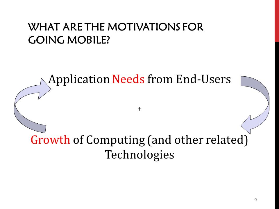 WHAT ARE THE MOTIVATIONS FOR GOING MOBILE.