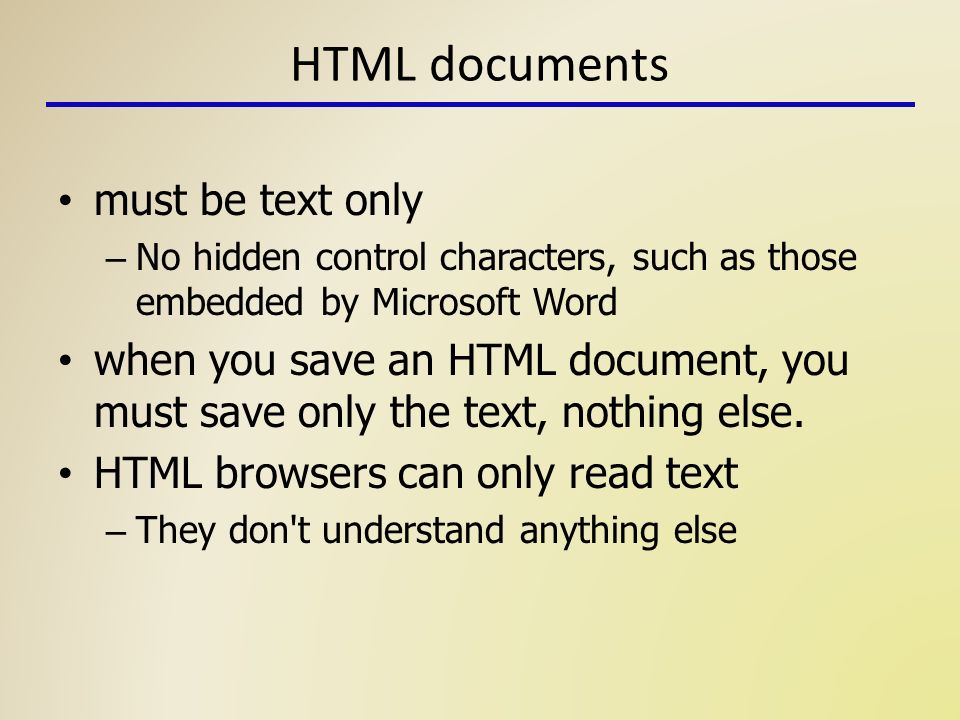 HTML: Introduction Fall Topics Background & naming documents Anatomy ...