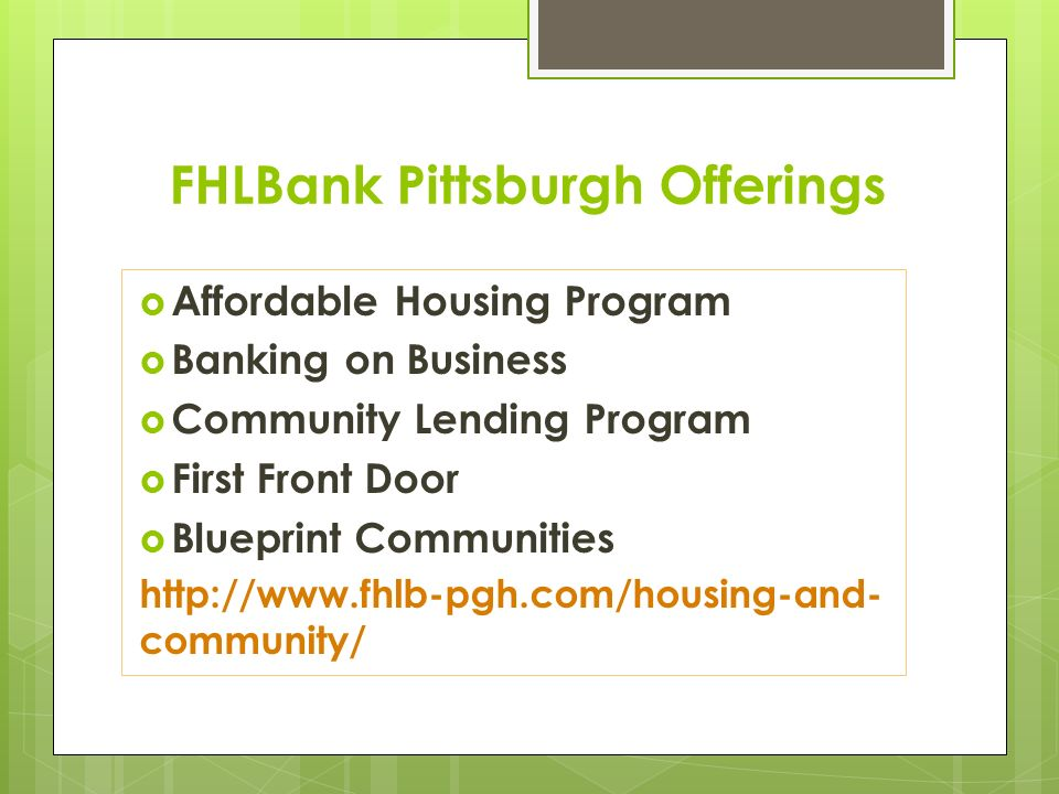 Main street on trac spring training april 2104 wesbanco bank 4 fhlbank pittsburgh offerings affordable housing program banking on business community lending program first front door blueprint malvernweather Image collections