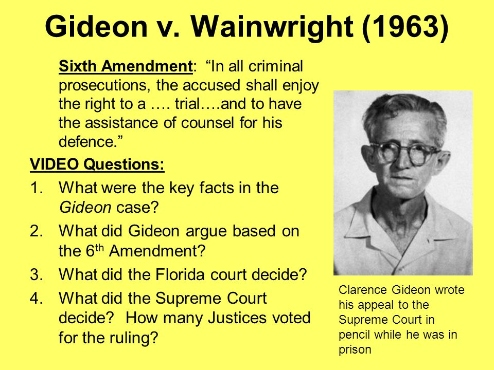 gideon vs wainwright amendment