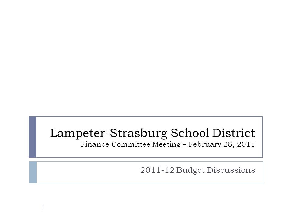 Lampeter Strasburg School District Finance Committee Meeting
