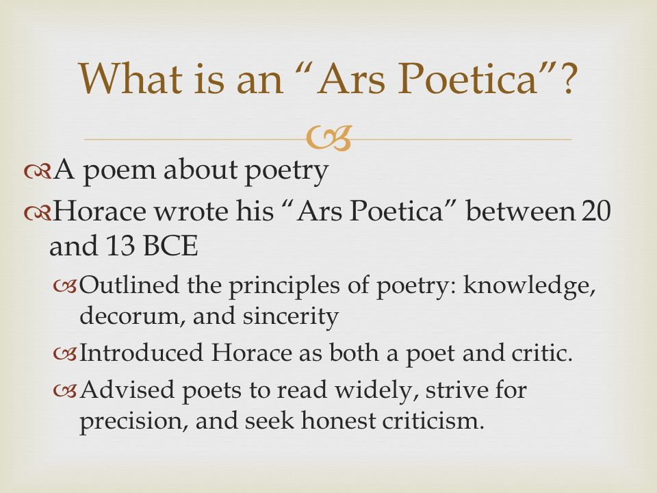 A Poem About Poetry Horace Wrote His Ars Poetica Between 20 And 13