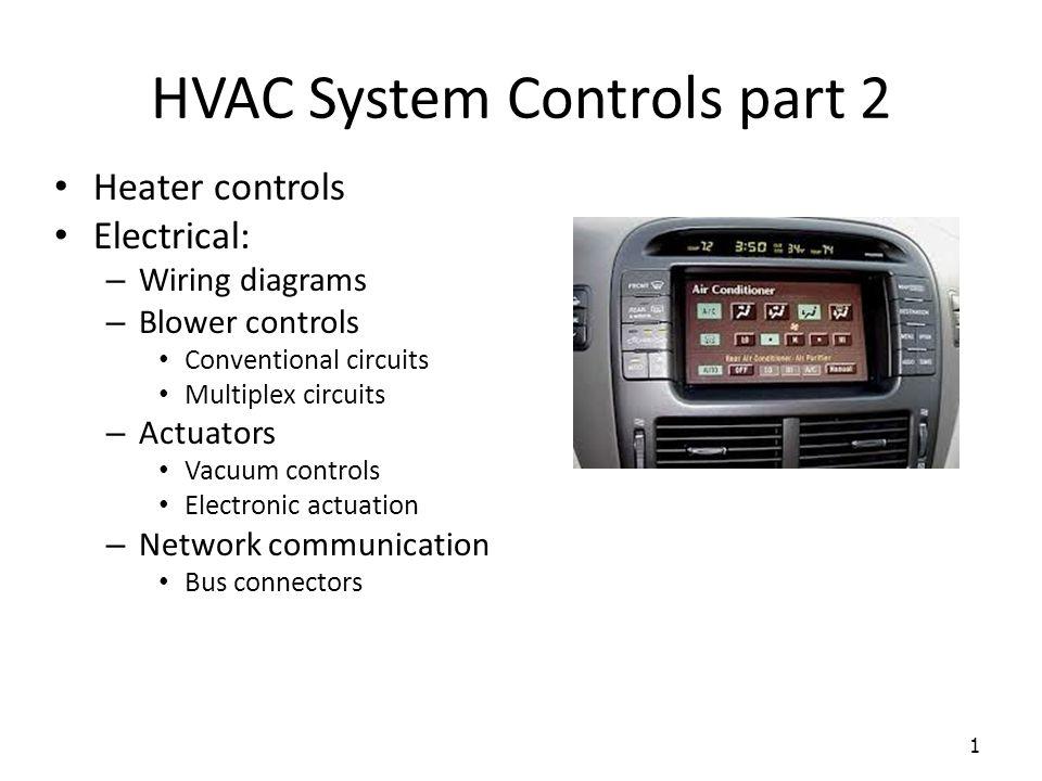 hvac system controls part 2 1 heater controls electrical wiring 1 hvac system controls part 2 1 heater controls electrical wiring diagrams blower controls conventional circuits multiplex circuits actuators vacuum