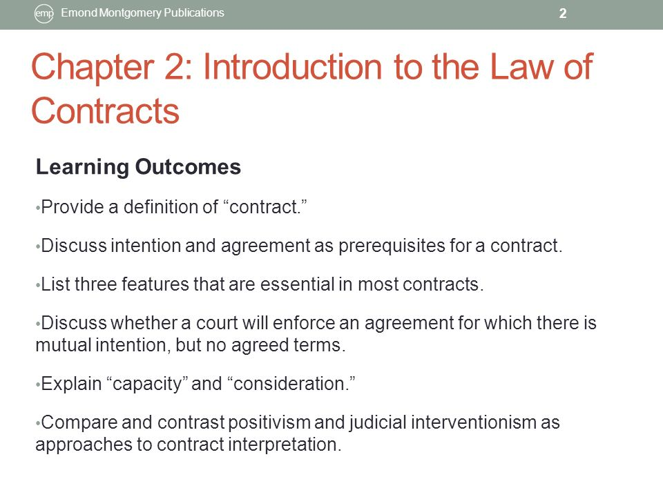 Chapter 2 Introduction To The Law Of Contracts Emond Montgomery