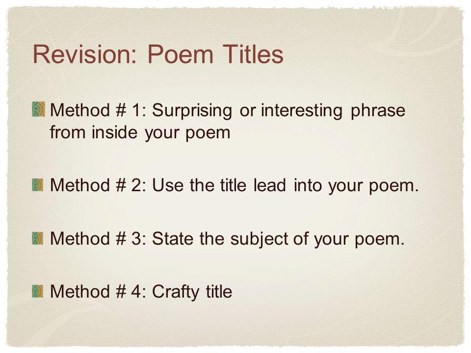 interesting poem titles