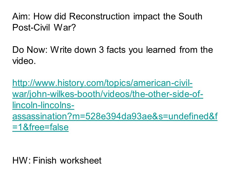 Printable Worksheets american civil war worksheets : Aim: How did Reconstruction impact the South Post-Civil War? Do ...