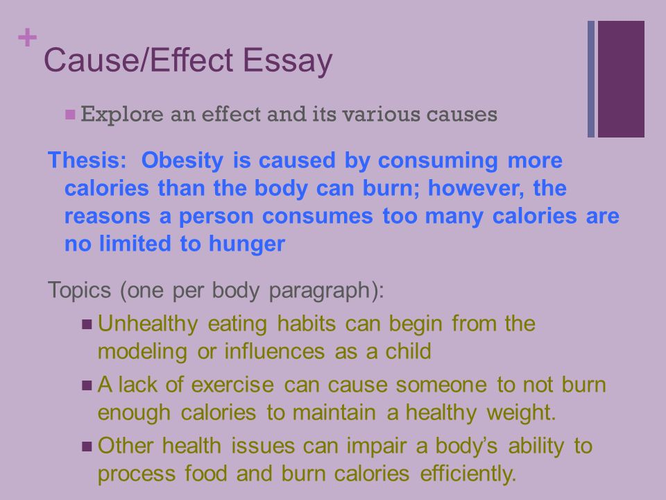 tuesday march   language arts  cause and effect essay refer    causeeffect essay explore an effect and its various causes thesis  obesity is caused by consuming more calories than the body can burn  however