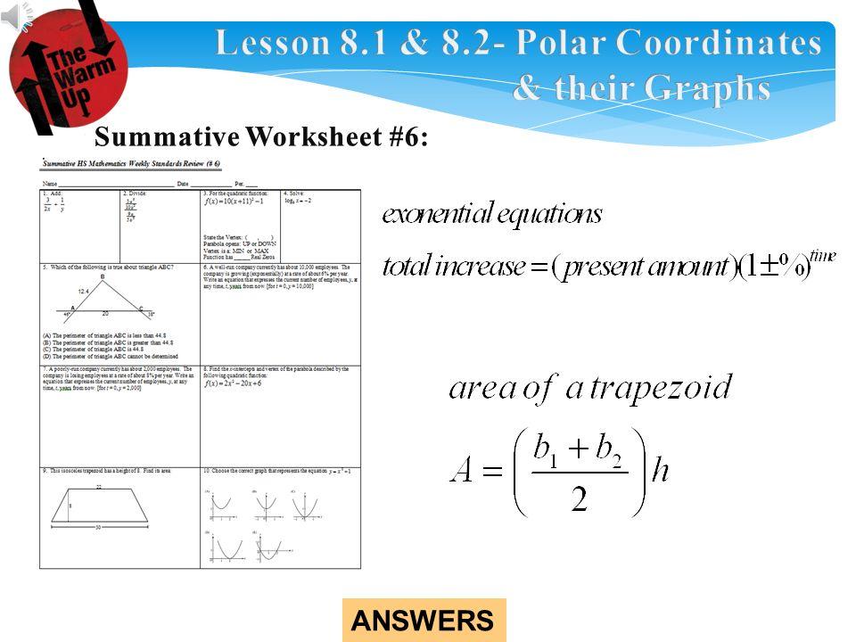 Answers Check Homework Pre Lesson 81 82 Polar Coordinates