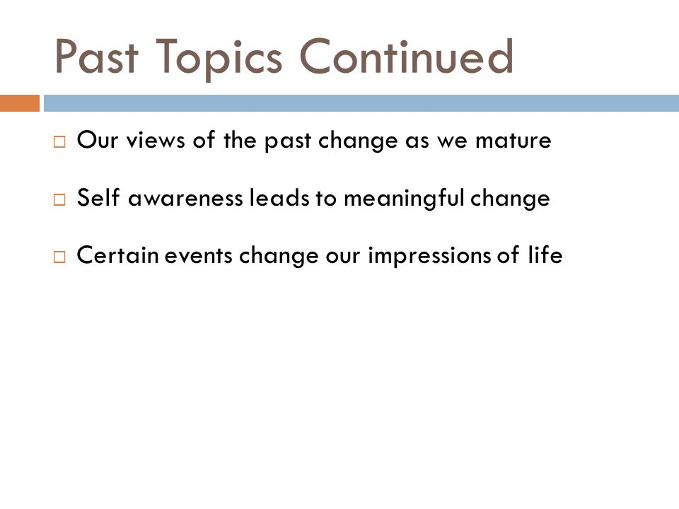 self awareness leads to meaningful change