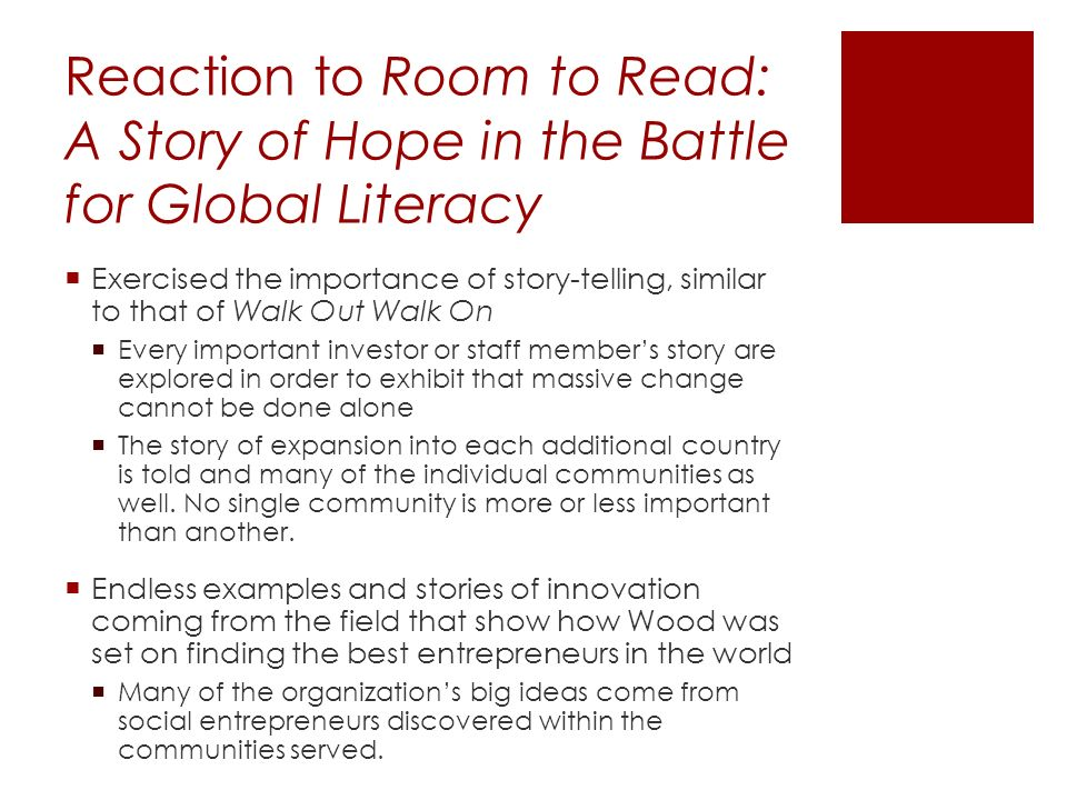 Creating Room to Read – John Wood Social Entrepreneurship