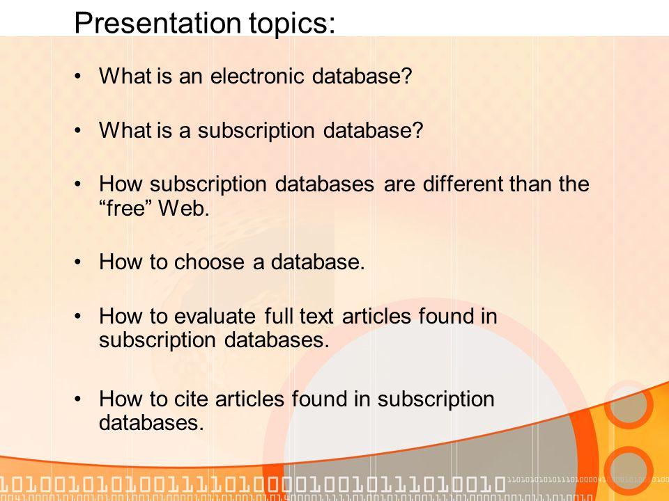 how to presentation topics