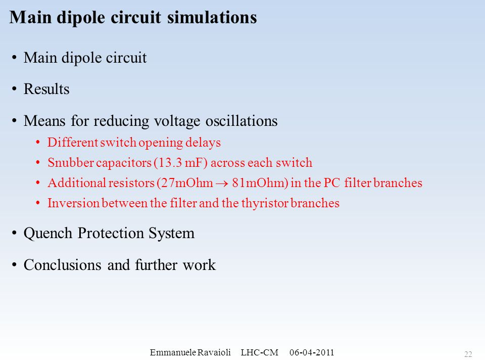 Main dipole circuit simulations Behavior and performance analysis ...