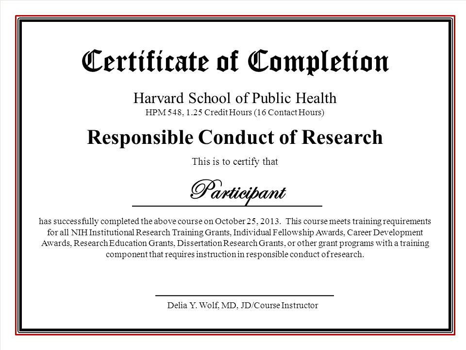Responsible Conduct Of Research Course Overview Delia Y Wolf Md