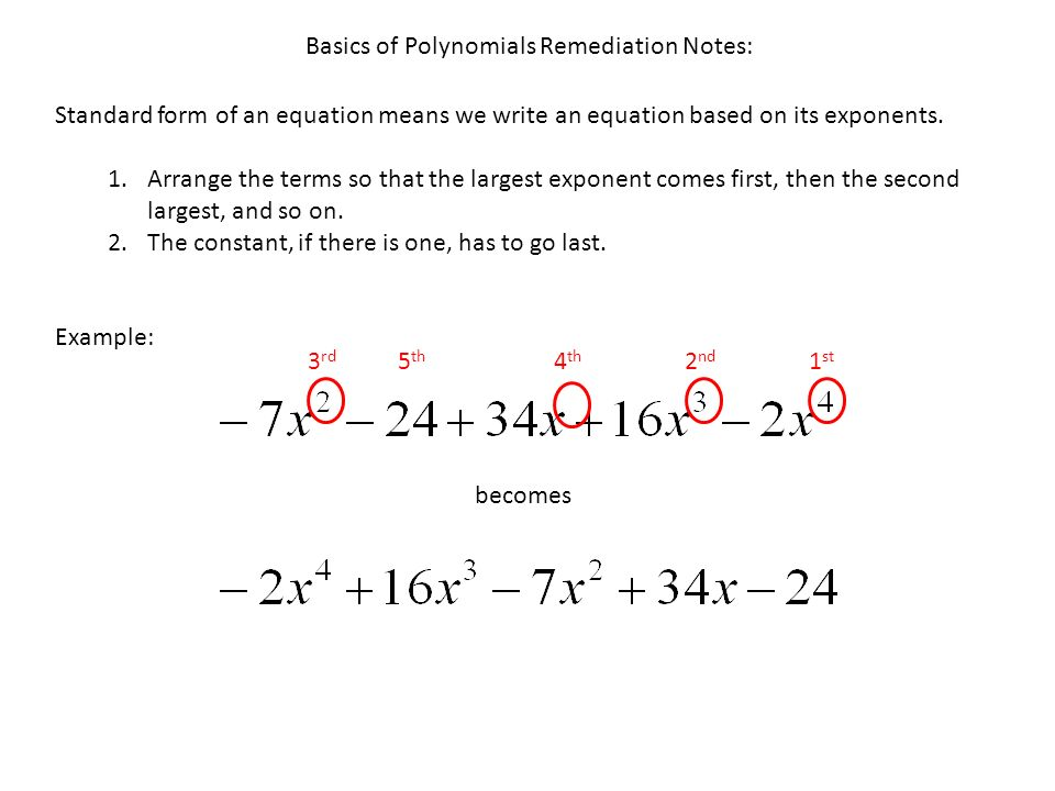 Standard Form Of An Equation Means We Write An Equation Based On Its