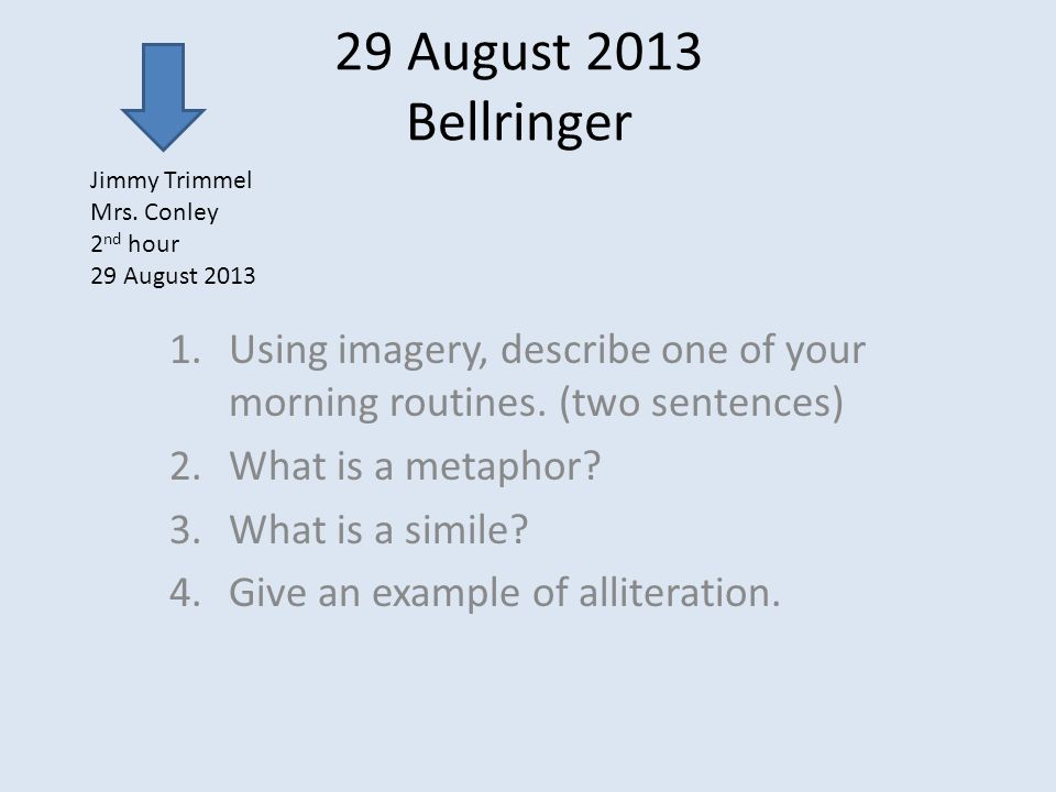 29 August 2013 Bellringer 1ing Imagery Describe One Of Your