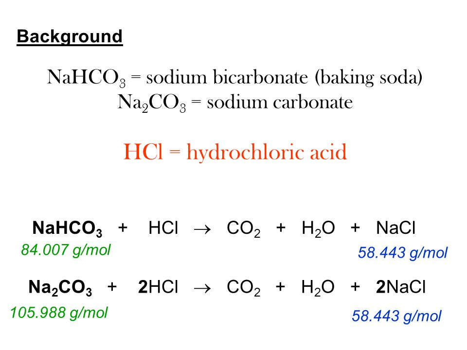 What chemical reaction is sodium bicarbonate and hydrochloric acid