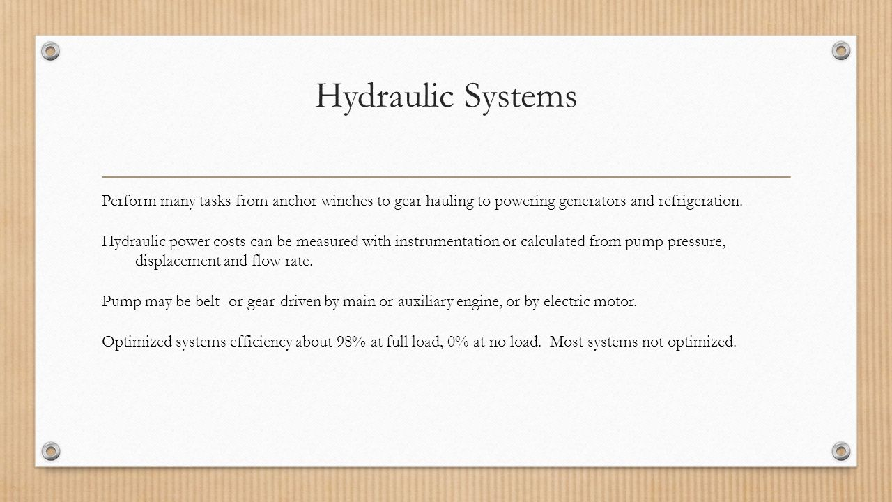 Saving Energy On Hydraulics And Refrigeration Alaska Fisheries Electricity 3 Hydraulic