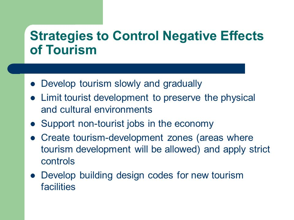 environmental and social impacts of tourism Tourism puts enormous stress on local land use, and can lead to soil erosion, increased pollution, natural habitat loss, and more pressure on endangered species these effects can gradually destroy the environmental resources on which tourism itself depends.