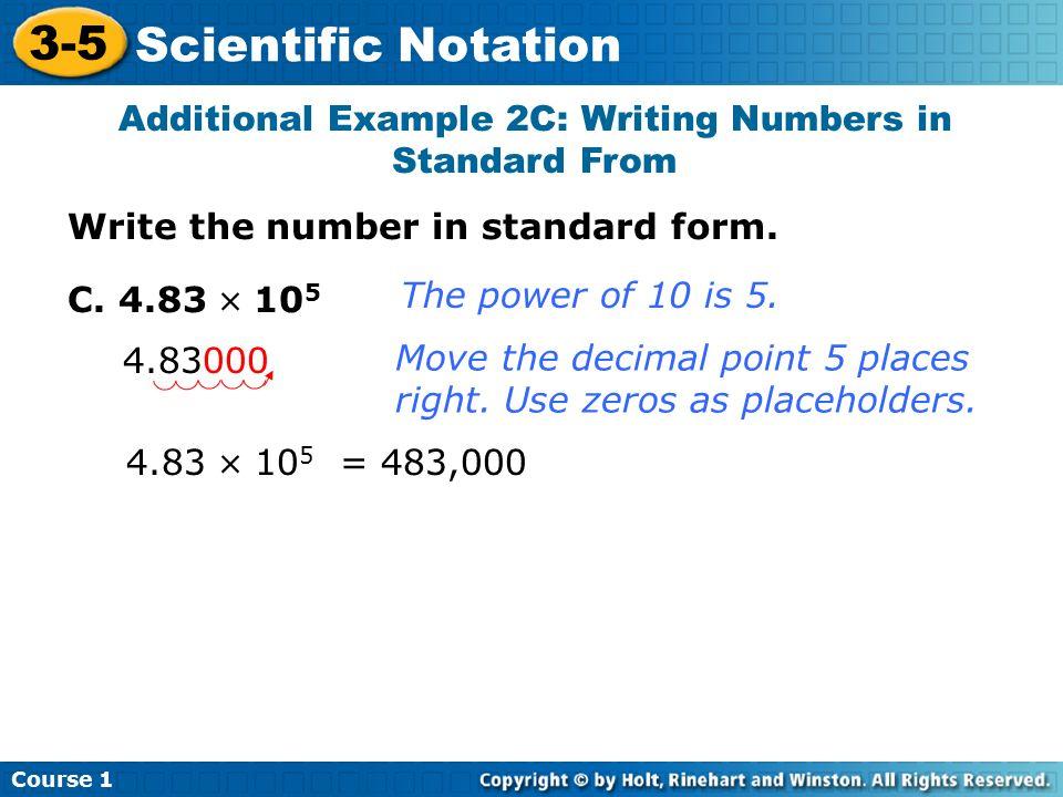 3 5 Scientific Notation Course 1 Warm Up Warm Up Lesson Presentation