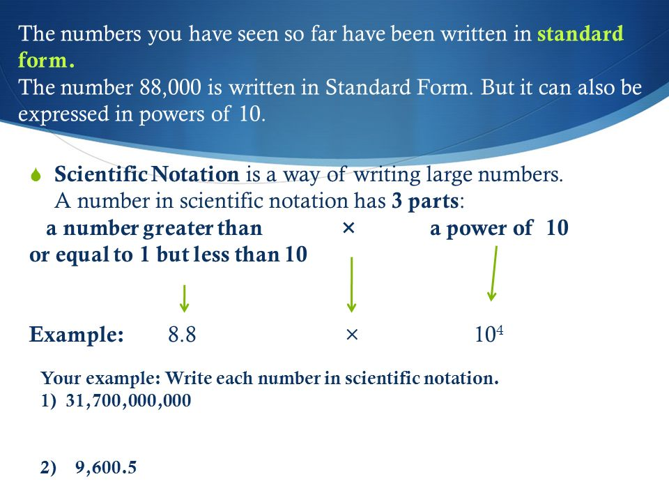 Chapter 5: Lesson 1: Powers of 10 and Scientific Notation Objective ...