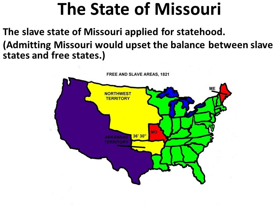 Slave States vs. Free States In 1819, the US had 22 states: 11 were ...