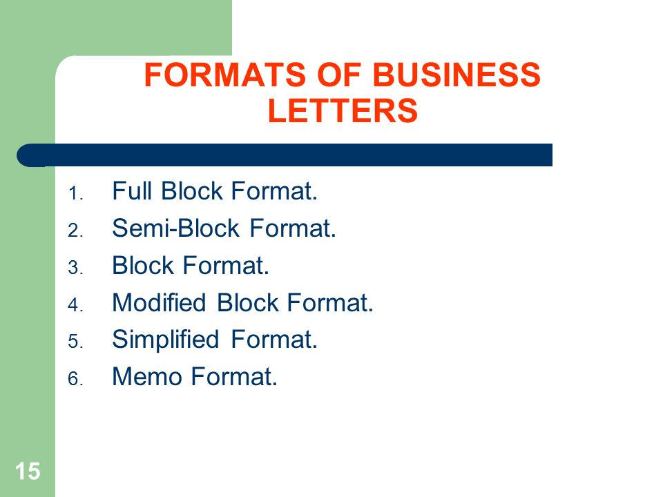 15 formats of business letters 1 full block format