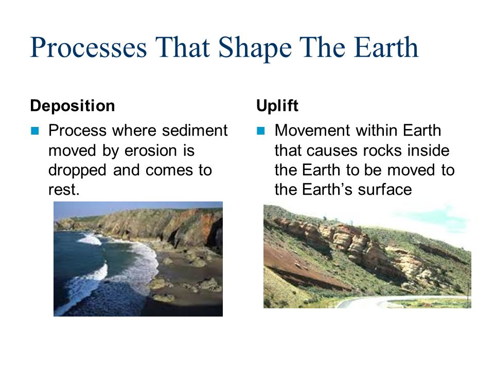 processes that shape the earth deposition process where sediment moved by erosion is dropped and comes