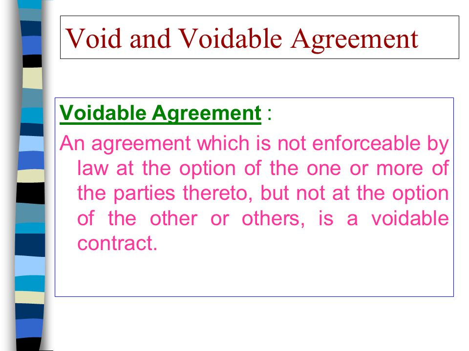 Void And Voidable Agreement Voidable Agreement An Agreement Which