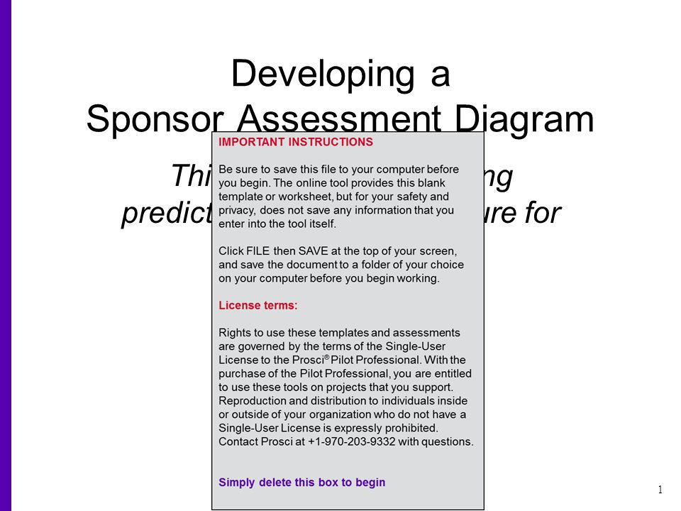 1 Copyright Prosci All Rights Reserved Developing A Sponsor