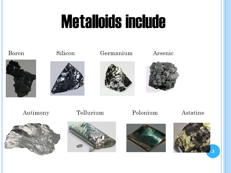 Awesome 3 3 Metalloids Include Boron Silicon Germanium Arsenic Antimony Tellurium  Polonium Astatine