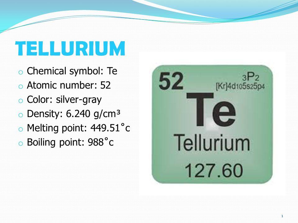 Tellurium O Chemical Symbol Te O Atomic Number 52 O Color Silver