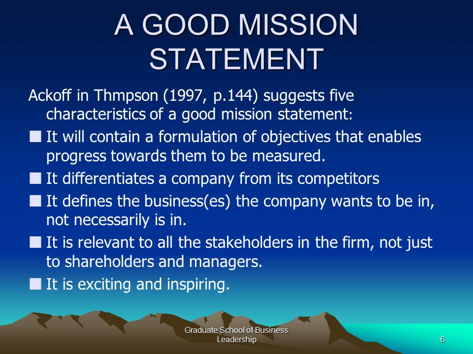 1 Graduate School Of Business Leadership Mission And Vision