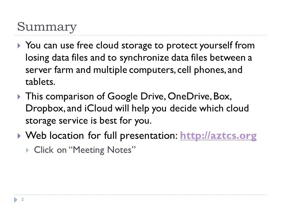 free cloud storage comparison