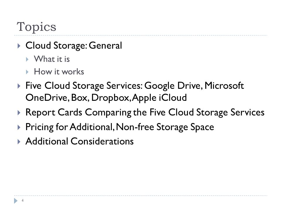 1 EXTERNAL STORAGE: USING THE CLOUD  Summary  You can use