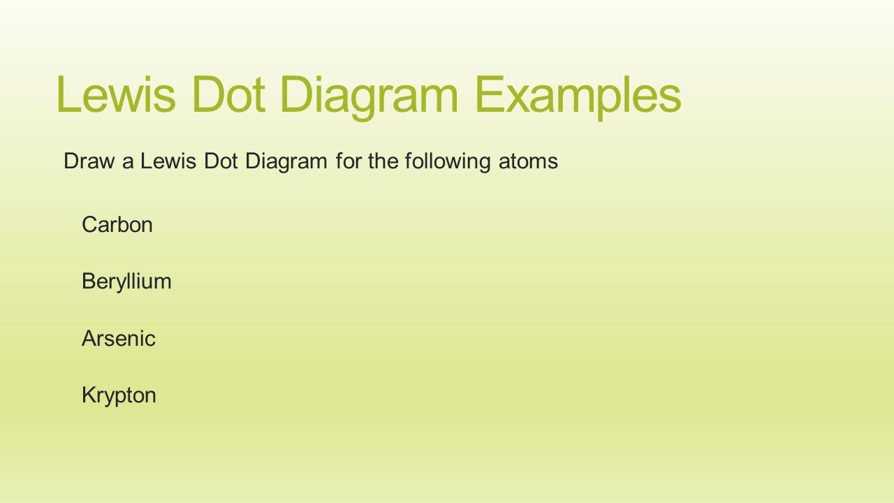 6 lewis dot diagram examples draw a lewis dot diagram for the following  atoms carbon beryllium arsenic krypton