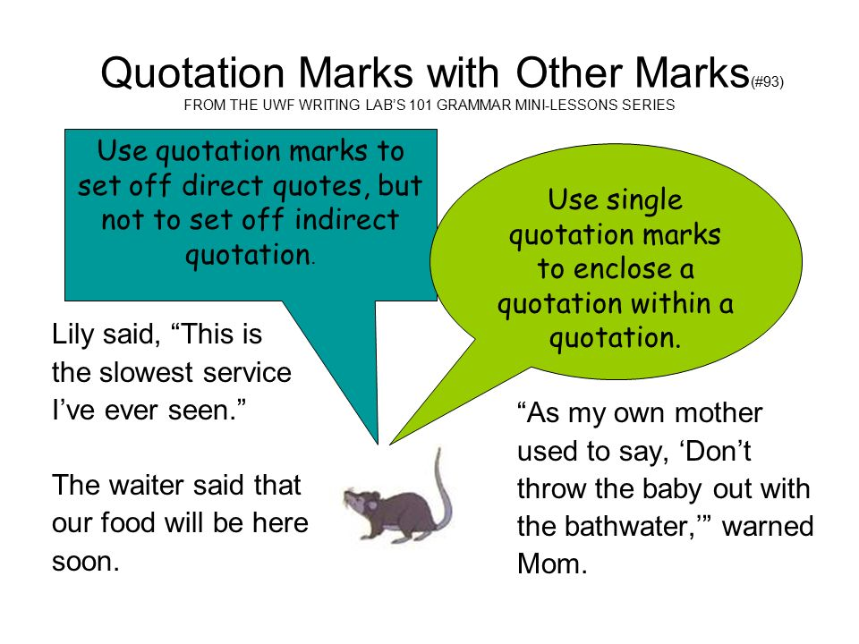 Quotation Marks With Other Marks 93 From The Uwf Writing Labs