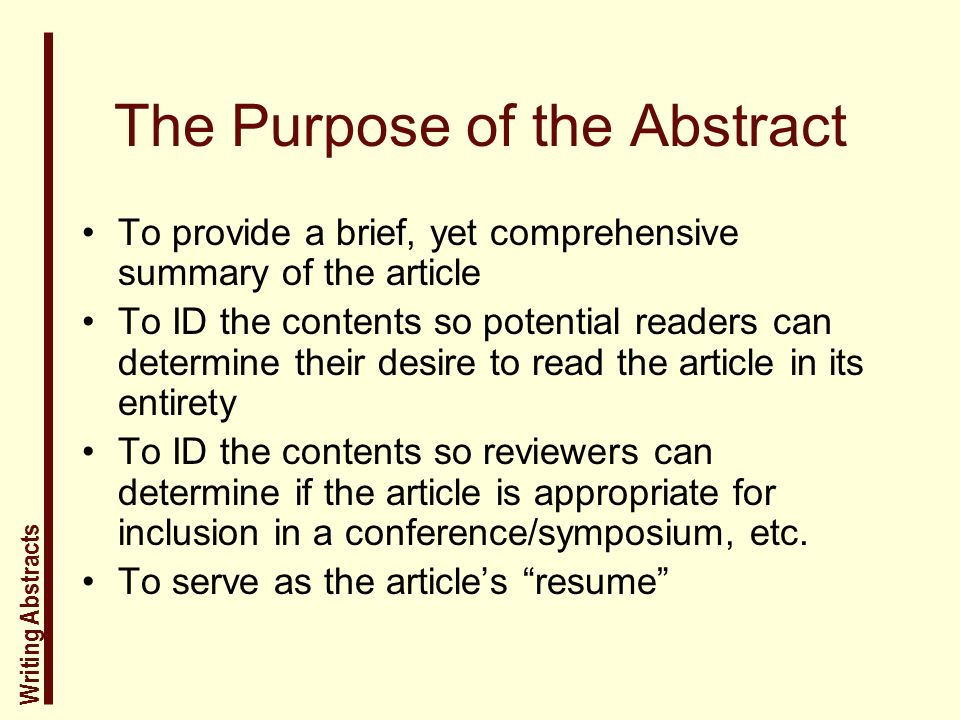 purpose of an abstract