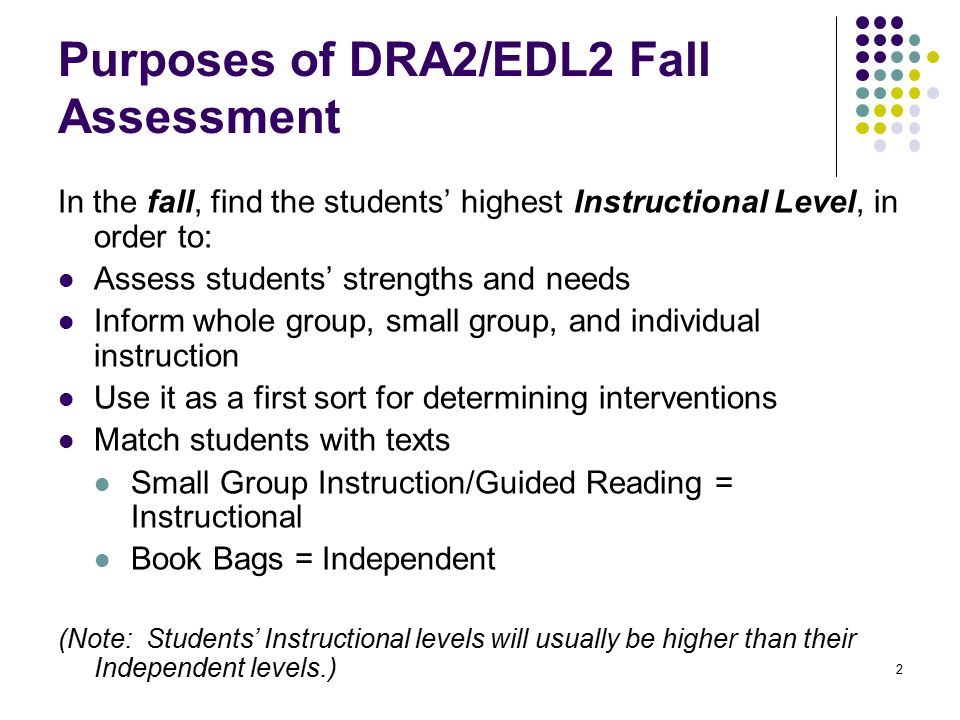1 Using Fall Dra2edl2 Data To Support Core Instruction Ppt Download