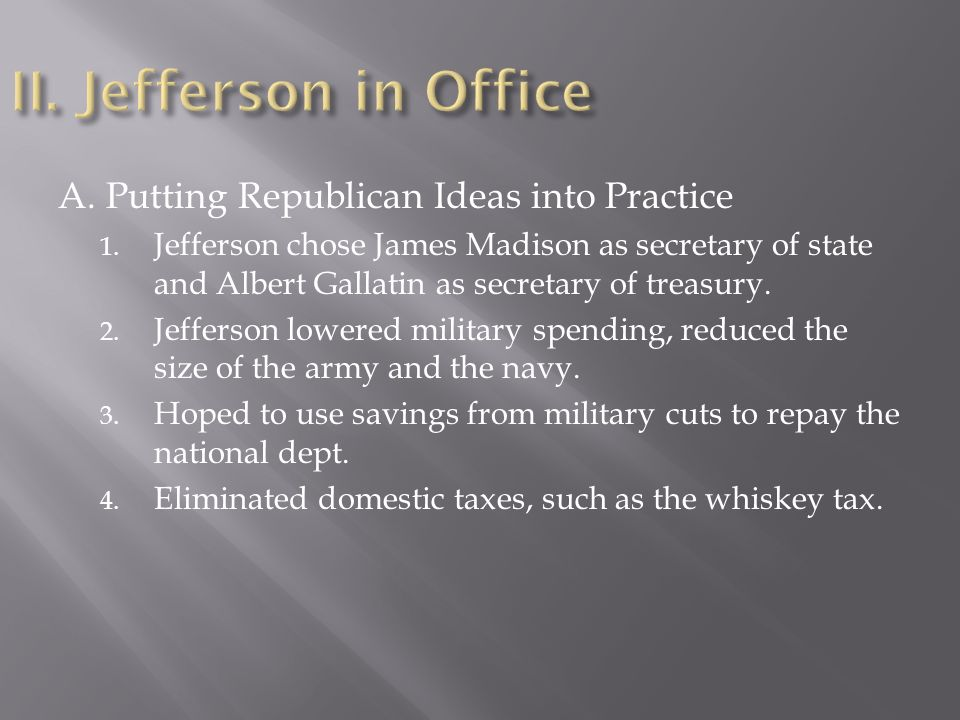 how did jefferson reduce the national debt